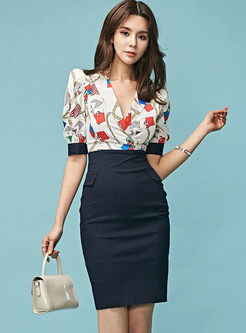 Work V-neck Half Sleeve Print Splicing Dress