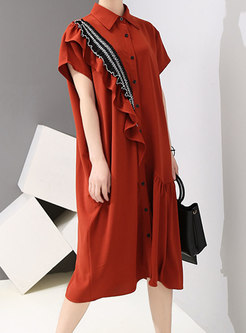 Stylish Splicing Lapel Single-breasted Shirt Dress
