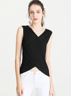 Stylish Hollow Out Sleeveless Slim Knitted Tanks