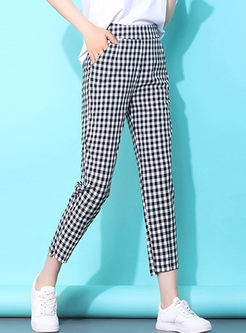 Brief Elastic Waist Plaid Harem Pants
