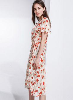 O-neck Waist Falbala A Line Dress With Cami