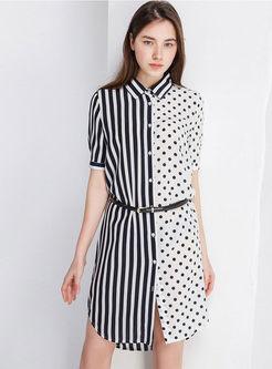 402e44afe Casual Lapel Striped Polka Dot Asymmetric Dress Without Belt