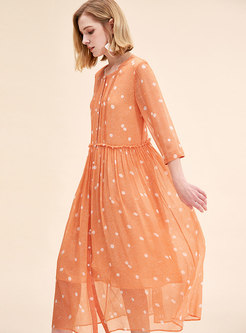 Chic Polka Dot O-neck Single-breasted Loose Dress