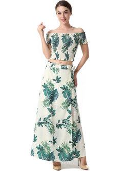 Fashion Print Backless Big Hem Two-piece Dress