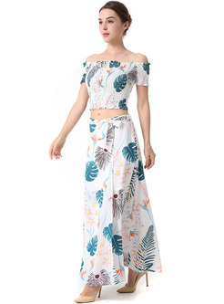 Casual Slash Sleeve Print Top & Holiday Maxi Skirt