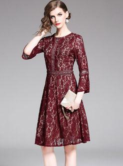 Elegant O-neck Flare Sleeve Lace Skater Dress