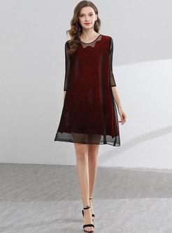 O-neck Mesh Splicing Slim Shift Dress