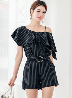Trendy Work Striped Falbala Slim Two-piece Pants