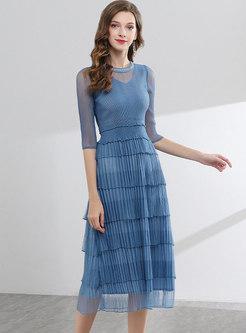 Fashion Hem O-neck Pure Color Skater Dress