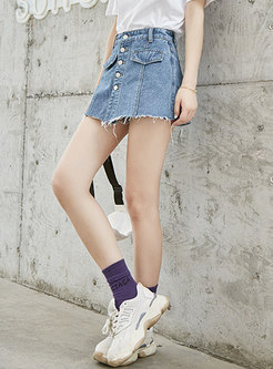Stylish High Waist Cotton Denim Pants