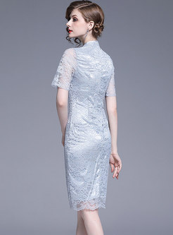 Vintage Lace Embroidered Mandarin Collar Bodycon Dress