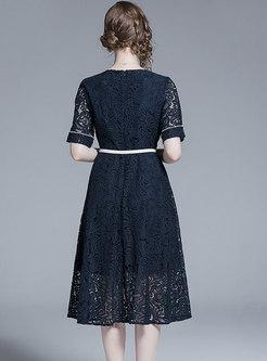 Lace Color-blocked O-neck High Waist A Line Dress