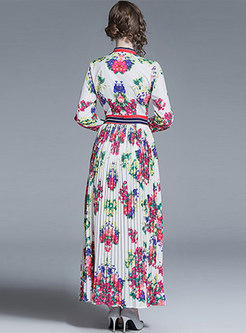 Print Bowknot High Waist Pleated Maxi Dress