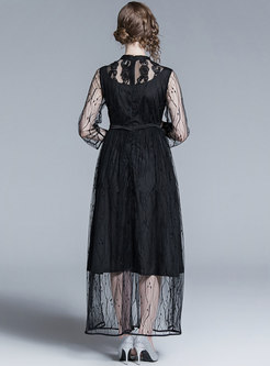 Stand Collar Perspective Black Lace Maxi Dress