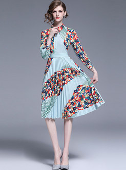 Print Turn-down Collar Lantern Sleeve Pleated Dress