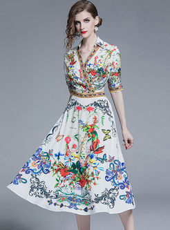 Court V-neck Short Sleeve Print Skater Dress