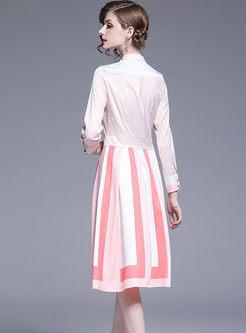 Standing Collar Long Sleeve Stripe Dress