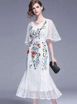 Stylish Party Flare Sleeve Mermaid Maxi Dress