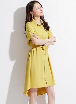 Pure Color Lapel Belted Asymmetric Dress