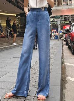Casual High Waist Straight Wide Leg Pants