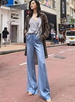Brief Elastic High Waist Wide Leg Long Pants