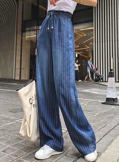 Elastic High Waist Tied Stripe Long Pants
