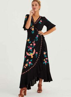 Bohemian Flare Sleeve Embroidered Maxi Dress