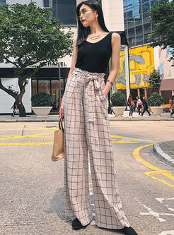 Bowknot Elastic High Waist Plaid Wide Leg Pants