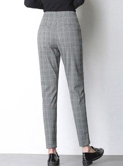 Stylish Plaid High Waist Slim Pencil Pants