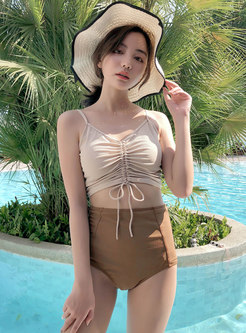 Stylish Print V-neck Tied Cover-up Swimwear