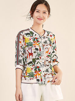 Fashion Short Sleeve Print Silk Thin Coat