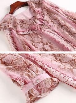 V-neck Falbala Long Sleeve Print Chiffon Blouse