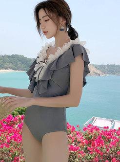 Chic Stereoscopic Flower V-neck One Piece Swimwear