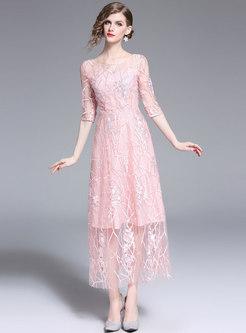 Elegant Embroidered Half Sleeve Slim Party Dress