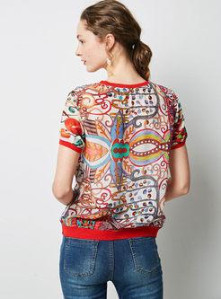 Retro O-neck Short Sleeve Pullover T-shirt