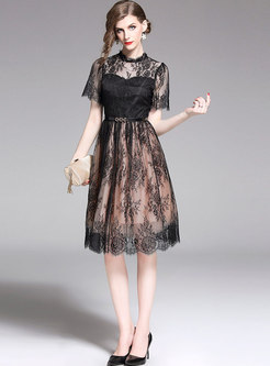 Sexy Lace Stand Collar See-through Slim Skater Dress