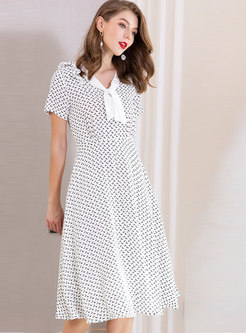 Print Tie-collar High Waist Skater Dress