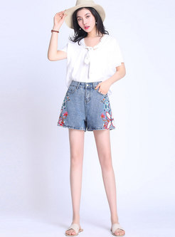 Casual Denim Embroidered High Waist Shorts