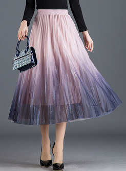 Color-blocked Elastic Waist Pleated Skirt