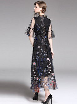 Mesh Embroidered Flare Sleeve Tie-collar Maxi Dress