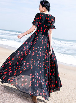 Stylish Summer Multi-color High Waist Beach Maxi Dress