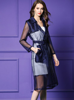 Fashion Mesh See-though Tied Thin Trench Coat