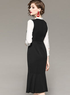 Elegant Color-blocked Stand Collar Bowknot Sheath Mermaid Dress