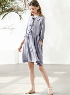 Stylish Lapel Tied Pleated Silk Shift Dress
