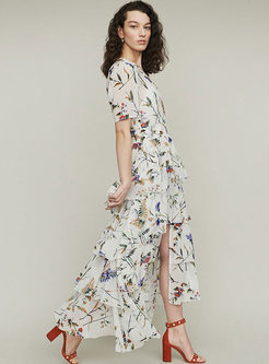 Bohemian V-neck Bat Sleeve Print Maxi Dress