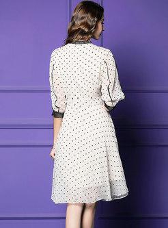 Bowknot Polka Dot Lantern Sleeve A Line Dress