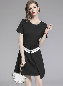 O-neck Short Sleeve Irregular Splicing Dress