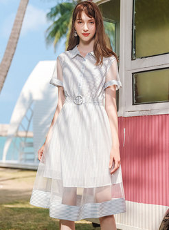 Striped Mesh Splicing Single-breasted Chiffon Skater Dress