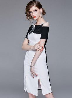 Chic Color-blocked Slash Neck Slit Sheath Dress