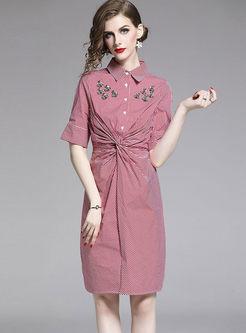 Lapel Plaid Beaded Slim Pleated Bodycon Dress